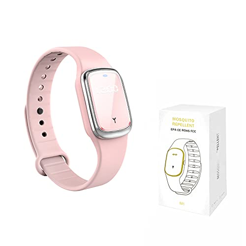 QU.SBEARY Ultrasonic Mosquito Repellent Bracelet Watch with Electronic Clock USB Charging Waterproof Portable Smart Mosquito Anti-Mosquito Bracelet (1 Pack, Pink)