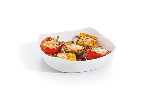 Luminarc - Plat carré Blanc Smart Cuisine Carine 250°C - Plat à Four en Verre Innovant - Léger et Extra-Résistant - Nettoyage Facile - Fabrication en France - Dimensions 29x29 cm