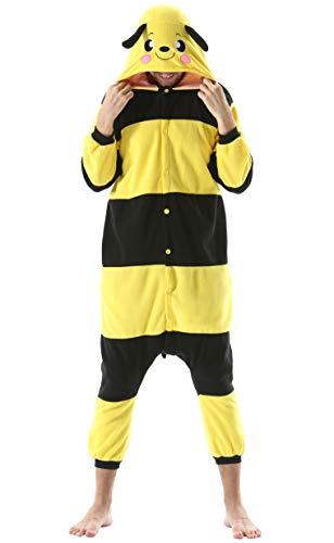 Pijama Animal Entero Unisex para Adultos con Capucha Cosplay Pyjamas Ropa de Dormir Kigurumi Traje de Disfraz para Festival de Carnaval Halloween Navidad Amarillo Abeja