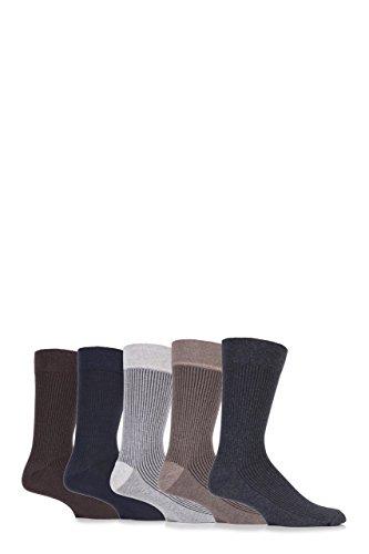 FARAH® Mens 5 Paar Gentle Grip vertikale gestreifte Socken aus Baumwolle Dunkel 11.06 Mens