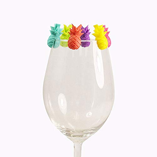 Pineapple Model Glass Marker 6pcs Set Silicone Drink Wine Beer Glass Markers Charms Tags