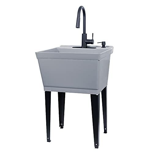 Grey Utility Sink Laundry Tub With High Arc Black Kitchen...