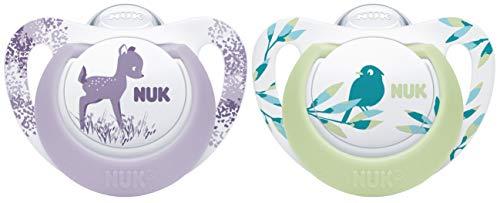 NUK 10177161 Genius Color Silikon-Schnuller, kiefergerechte Form, 18-36 Monate, 2 Stück, lila & grün, rosa