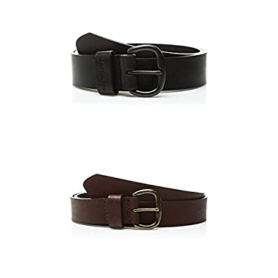 Carhartt Women's Signature Casual Belt, Black & Brown 2 Pack, XX-Large