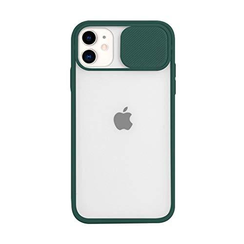 Funda Mate Compatible con iPhone 12 Pro MAX Carcasa con Tapa Deslizable para Cámara Bordes de TPU Suave Antirrayas A Prueba de Golpes Ultra Fina Transparente Back Cover,Verde,11 Pro MAX