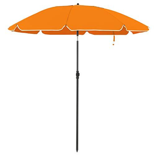 SONGMICS Sonnenschirm für Strand, Ø 160 cm, Gartenschirm, UV-Schutz bis UPF 50+, knickbar, Sonnenschutz, tragbar, Schirmrippen aus Glasfaser, orangeGPU60OG