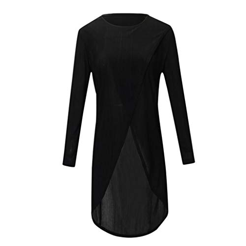 iYmitz Damen Casual Long Sleeve Forking Unregelmäßige Tops Bluse Pullover Shirt(Schwarz,M)
