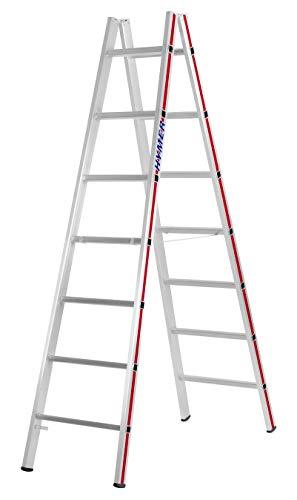 HYMER 402314 Sprossenstehleiter beidseitig begehbar, 2x7 Sprossen