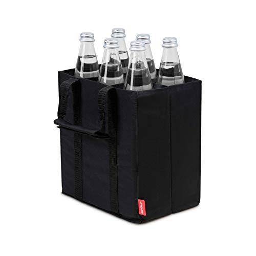 achilles, Bottlebag de 6, ADB06bl, Sac de Bouteille pour 6 x 1,5L Bouteilles, Noir, 25 cm x 17 cm x 27 cm