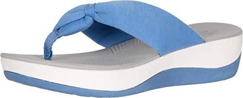 Clarks Women's Arla Glison Flip-Flop, blue solid textile, 100 M US