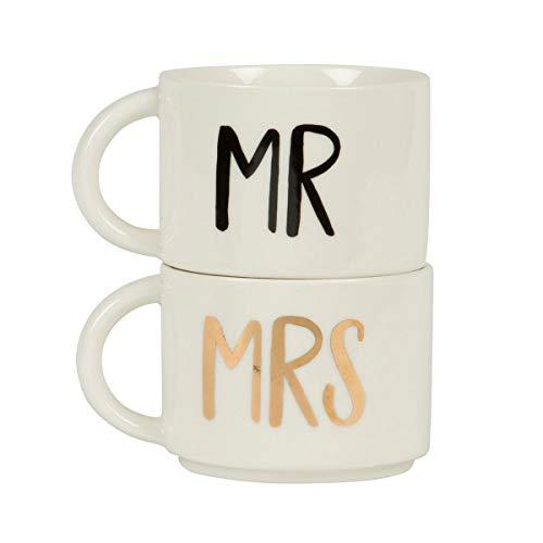"""Sass & Belle - Set di 2 tazze impilabili """"Mr"""" e """"Mrs"""""""