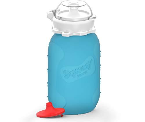 Squeasy Snacker, 180ml (Blau) - Wiederverwendbares Silikon Quetschie zum selbst befüllen mit u.a. Smoothie, Baby-Brei, Mus oder Joghurt