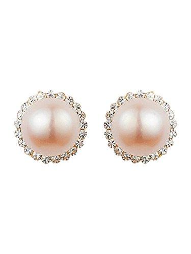 Novia, Pearl Perlas Pendientes De Tuerca Tuerca, Real, Marfil/Crema Pearl Pendientes de tuerca