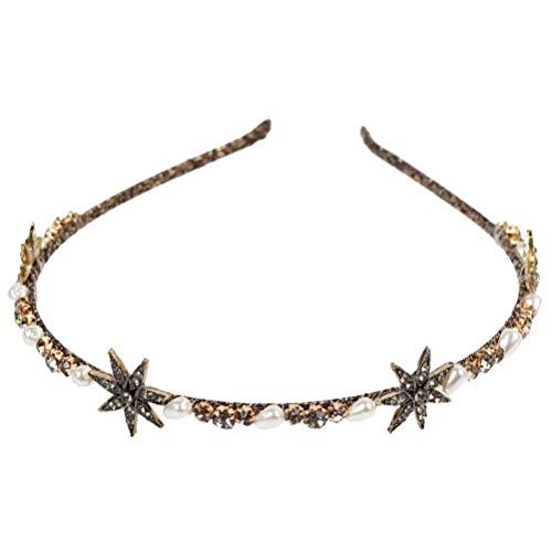 Beaupretty Tiara de pérolas com strass, laço de cabelo barroco, coroa do rei real, acessórios de cabelo vintage para mulheres e meninas (padrão 3)