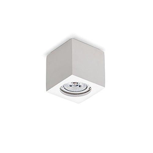 Spot de plafond cube en plâtre blanc à peindre, hauteur variée, 7 cm
