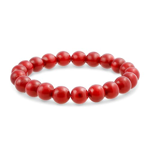 Bling Jewelry Simple Plain Stacking Round Coral Red Stone Ball Bead Stackable Strand Stretch Bracelet for Women Teen for Men 8MM