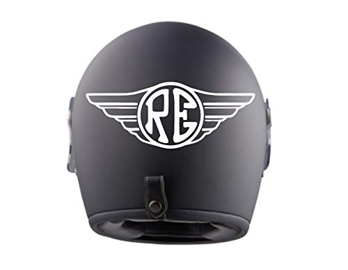 myrockshirt 2X Royal Enfield Flügel Logo Helmaufkleber Helm Motorrad Aufkleber Sticker Decal Profi-Qualität ohne Hintergrund Bike Tuning