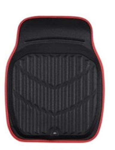 IVNGRI Alfombrillas universales para coche de piel de PVC, impermeables, antisuciedad, color negro y rojo, para todos los coches, accesorios de interior del coche (color delantero: 1 pieza roja)