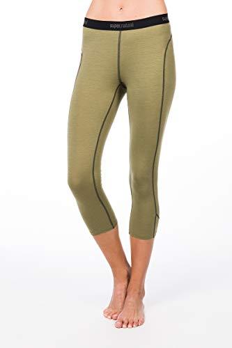 super.natural Damen Funktions-Unterhose, 3/4 Länge, Mit Merinowolle, W BASE 3/4 TIGHT 175, Größe: M, Farbe: Beige/Khaki