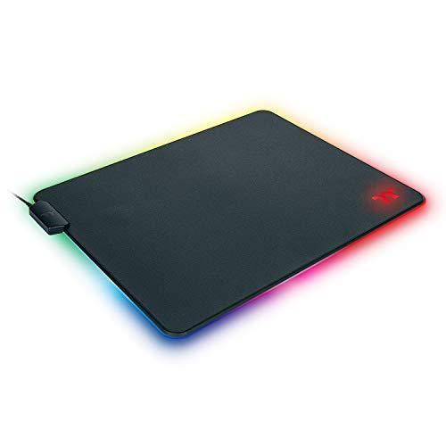 Thermaltake Level 20 RGB 16.8 Million RGB Color Software Enabled (TT RGB Plus/iTake/Alexa/Razer Chroma) Splash-Proof/Anti-Slip Rubber Base 370mm x 290mm Gaming Mouse Pad GMP-LVT-RGBHMS-01, Small