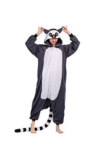 Pijamas Animal Disfraces Pijama Una Pieza Adulto Cosplay Anime Onesie Mujer Hombre Lémur L para Altura(171CM-185CM)