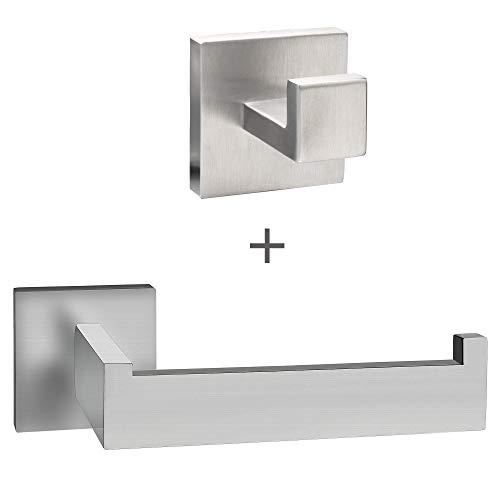 ECENCE Set Toilettenpapierhalter Handtuchhalter - Eckiges Design - Badezimmeraccessoires - aus rostfreiem Edelstahl gebürstet 41010201