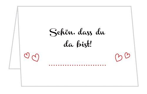 SellerRocket 50 Stück Tischkarten Hochzeit - Tischkarten für Geburtstag, Taufe, Kommunion und Konfirmation/Schön, DASS du da bist Platzkarten mit Motiv