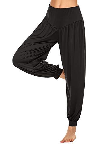 Lucyme Damen Haremshose Lange Yogahosen Elastisch Pilates Hose Pluderhose Pumphose Jogginghose Casual Sporthose, Schwarz, XL