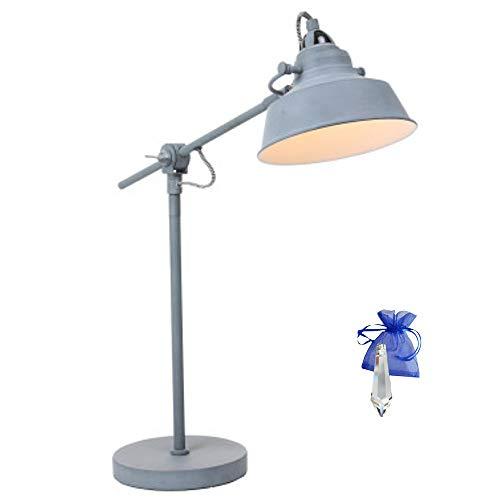 Tafellamp industrieel grijs mat E27 vintage tafellamp bureaulamp in industrieel design retro werkplaatslamp bureaulamp 230V 1321GR + Giveaway