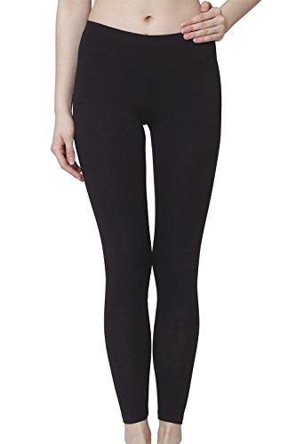 Celodoro Damen Leggings, stretchige Jersey Hose aus Baumwolle - Schwarz XXL