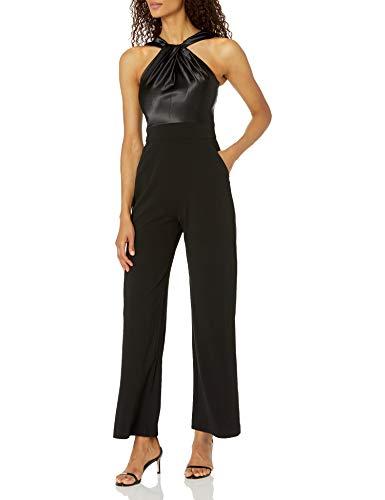 Eliza J Women's Twist Neck Jumpsuit Dress, Black, 18
