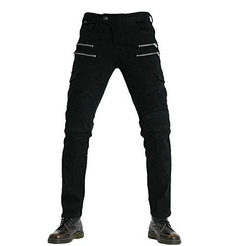 Yuanu Hombre Mujer Jeans de Moto Pantalon con 2 Protectores Rodilla y 2 Protectores Cadera Motorista Vaqueros de Moto Cremallera Mezclilla Motociclista Proteccion Pantalon Negro 29W / 42L
