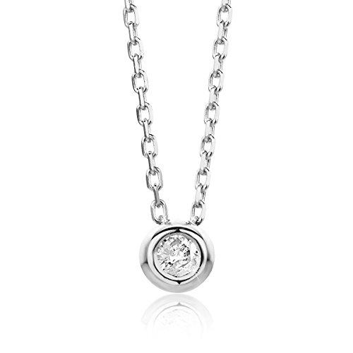 Orovi Damen Halskette mit Diamant Weißgold Kette 14 Karat (585) Brillianten 0.05crt, Goldkette