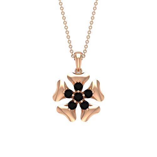 Colgante redondo de diamante negro personalizado de 3/4 quilates, colgante de pétalo en forma de corazón dorado, colgante de cúmulo de diamantes, colgante de gota de regalo
