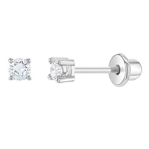 In Season Jewelry - Baby - Schraubverschluss Ohrringe Krappe Set Rhodiniert Kristall Extra Klein 2mm