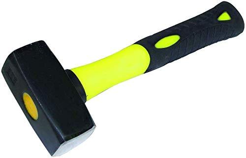 HRB Fäustel 2000 g mit Fiberglasstiel, Hochwertiger Hammer mit Stahlkopf - Rutschfester 2 Komponenten Stiel aus Fiberglas Geschliffene Bahnen Abbruchhammer Vorschlaghammer Stemmhammer