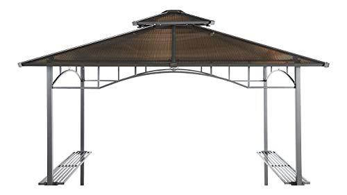 GRASEKAMP Qualität seit 1972 Ersatzdach Hardtop BBQ Pavillon 1,5x2,4m Doppelstegplatten Polycarbonat Braun