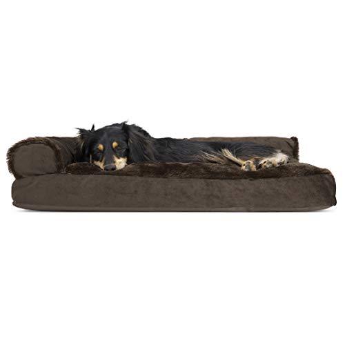 Furhaven Cama para mascotas – felpa de piel sintética y terciopelo en forma de L – Cojín de sofá estilo sala de estar esquinera sofá cama para mascotas con funda extraíble...