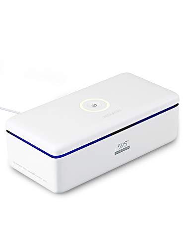 59S UV Esterilizador, Cajas de teléfono para esterilización UV, Caja esterilizadora LED UVC con 8 cuentas, Lámpara de esterilización rápida al 99,9% (white1)