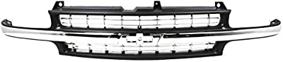 Grille Assembly Compatible with 1999-2002 Chevrolet Silverado 1500 Cross Bar Insert Plastic Dark Gray Shell and Insert with Chrome Center Bar