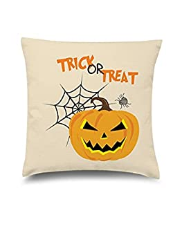 Angry Pumpkin Face Orange Pillow Case Halloween Decor  Canvas - Linen Pillow   Canvas Pillow 12x12
