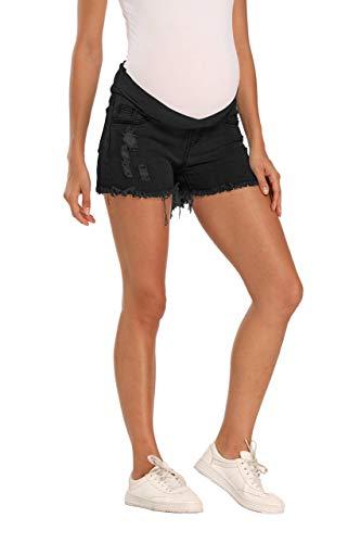 Kegiani Maternity Overbelly Wide Elastic Band Waist Denim Shorts Summer Pregnancy Shorts #3 Black,Medium