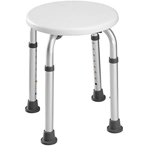 bakaji taburete baño Redondo de Aluminio altura ajustable Asiento ducha silla bañera Ayuda para personas mayores, pies de goma antideslizante
