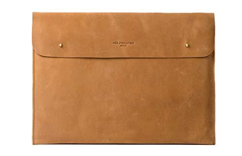 """HOLZRICHTER Berlin Laptop 15"""" Sleeve - Premium Hülle aus Leder – Ledertasche für Notebook Apple MacBook 15"""