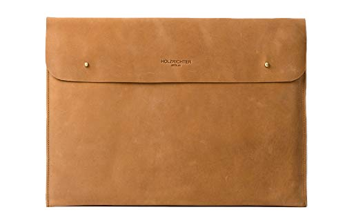 "HOLZRICHTER Berlin Laptop 15"" Sleeve - Premium Hülle aus Leder – Ledertasche für Notebook Apple MacBook 15"