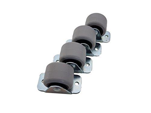 (4 Stück) 30 mm Gummiräder Kunststoff Drehrollen Doppelrollen Metall mit Platte Möbel Gerät & Ausrüstung Kleine Mini Rollen Rollen Set