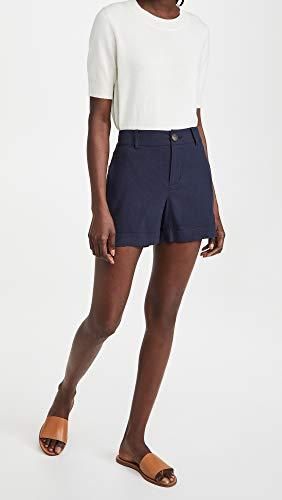 Vince Women's Casual Linen Shorts, Coastal, Blue, 2