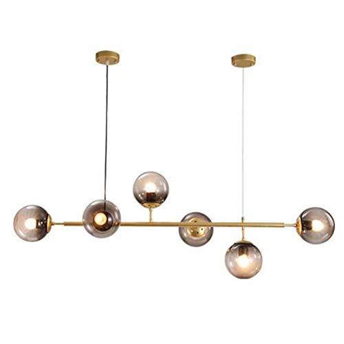 Modern Gold Sputnik Kronleuchter 6 Lichter Moleküle Messingbeschichtung Deckenleuchte Befestigung Pendelleuchte Dining Kitchen Island Schlafzimmer Beleuchtung-Gold und bernsteinglas 6-lights