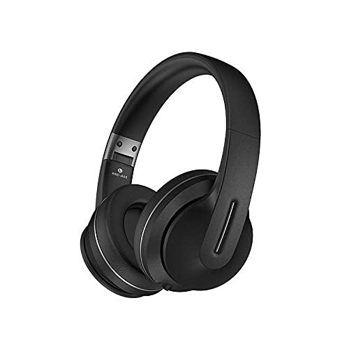 Auriculares inalámbricos con micrófono dual, tiempo de conversación de 22 horas con micrófono de cancelación de ruido en auriculares Bluetooth del oído con modo inalámbrico adecuado para jóvenes,Negro