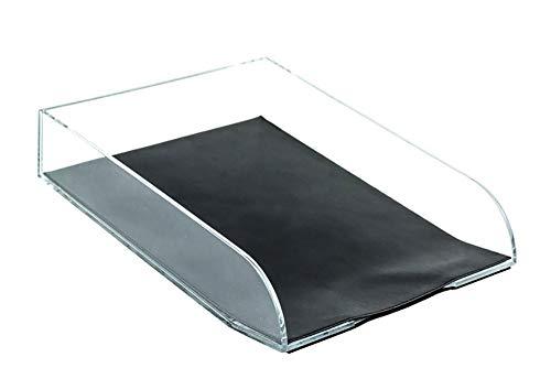 DELMON VARONE - Briefablage DIN A4 aus Acryl/Leder Kombination Boxcalf schwarz, Schreibtisch Organizer als Ablage für Dokumente, Briefe, Akten und Zeitungen, Elegante Schreibtischablage für Büro